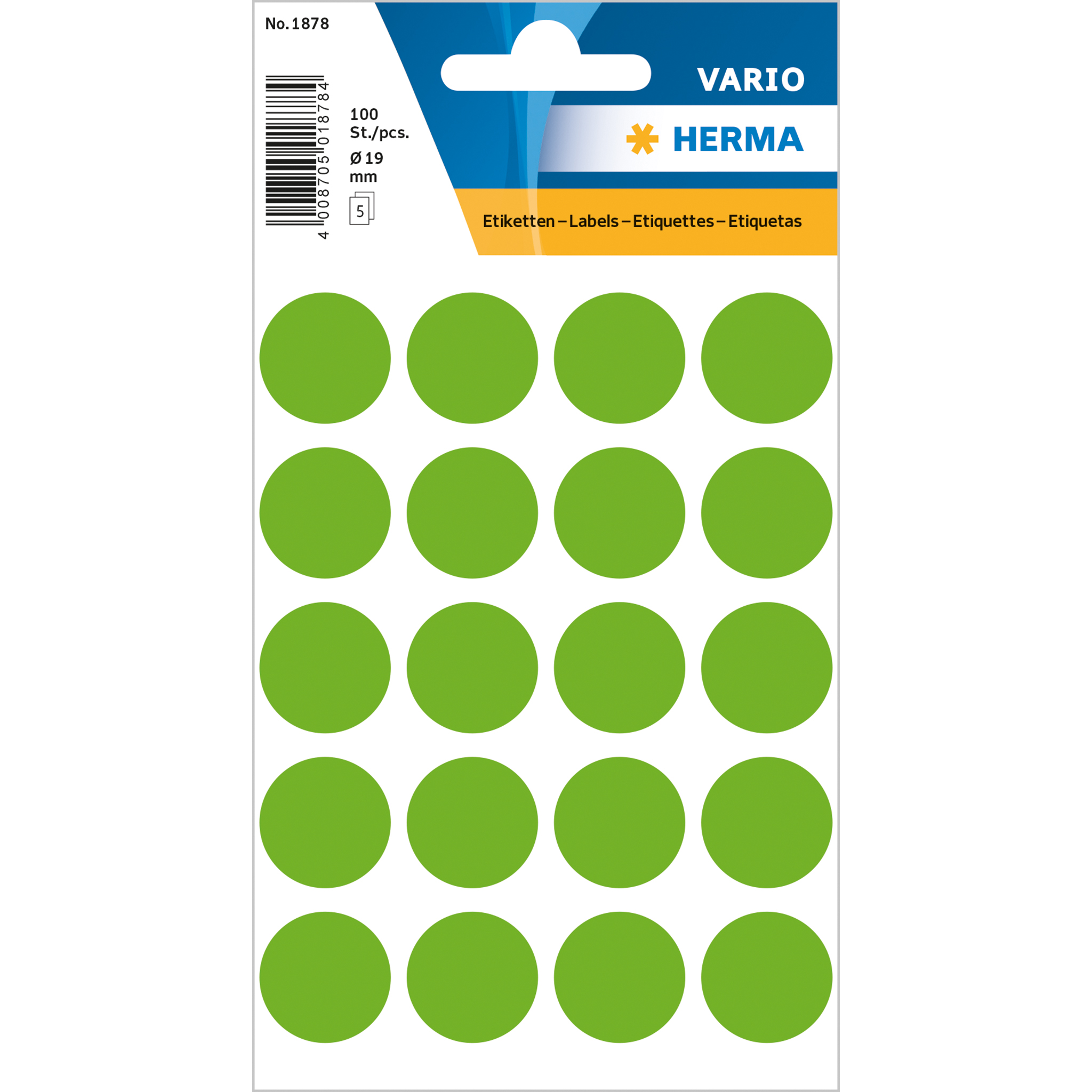 Multi purpose labels colour dots ø 19 mm round luminous green permanent adhesion for hand let