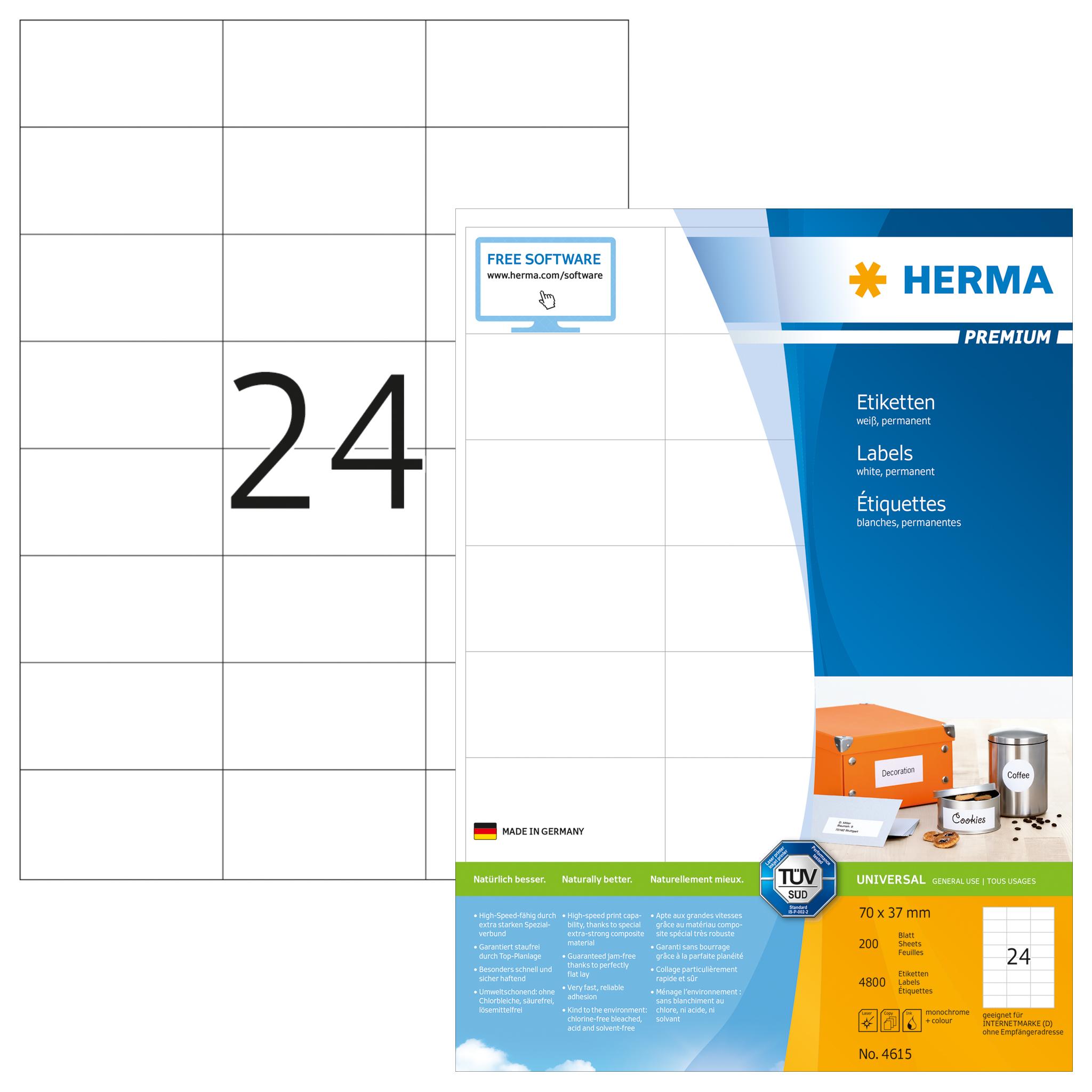 Herma Labels film silver 63,5x29,6 SuperPrint LaserCopy