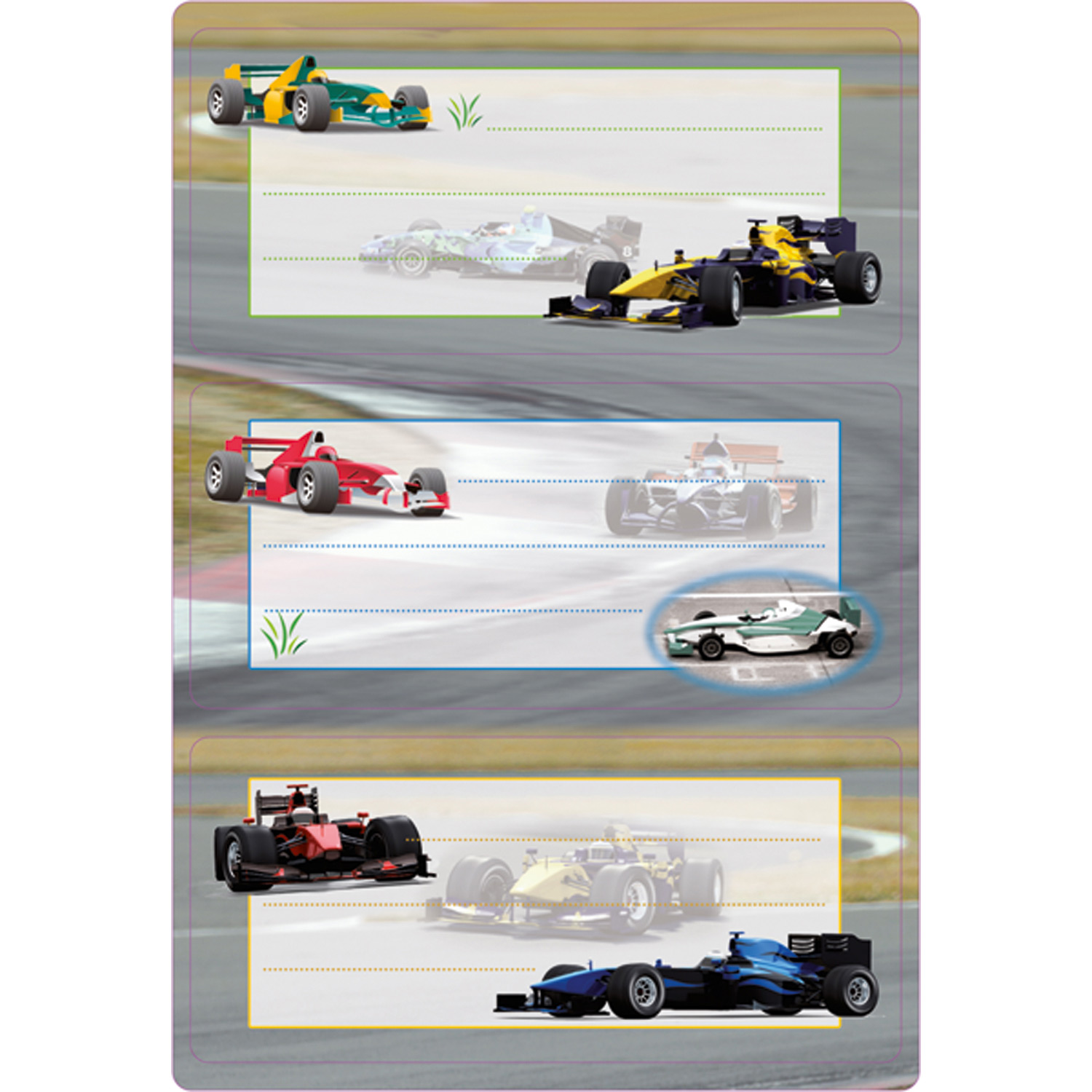 Book labels racing cars glittery